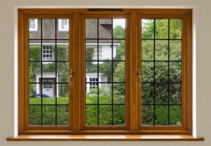 Wood-framed windows